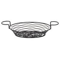American Metalcraft BNBB821 Oval Birdnest Black Metal Basket with 2 Ramekin Holders - 11 inch x 8 inch x 3 1/4 inch