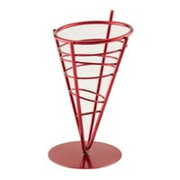 American Metalcraft FFBR59 Red One-Cone Basket - 5 inch x 9 inch