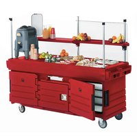 Cambro CamKiosk KVC854158 Hot Red Vending Cart with 4 Pan Wells