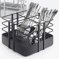 Cal Mil 1545-13 7 1/2 inch x 7 1/2 inch Black Soho 4 Slot Metal Flatware Organizer