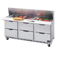 Beverage-Air SPED72-18-6 72 inch Six Drawer Refrigerated Salad / Sandwich Prep Table