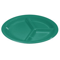Carlisle 3300009 Sierrus 10 1/2 inch Meadow Green 3 Compartment Narrow Rim Melamine Plate - 12/Case