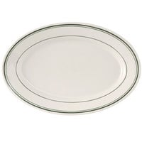 Tuxton TGB-034 Green Bay 9 3/8 inch x 6 1/2 inch Wide Rim Rolled Edge Oval China Platter - 24/Case