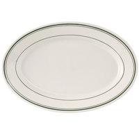 Tuxton TGB-034 Green Bay 9 3/8 inch x 6 1/2 inch Wide Rim Rolled Edge Oval China Platter   - 24/Case