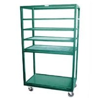 Win-Holt DR-2443 Green 43 inch x 24 inch Merchandiser Rack with Four Flat Shelves and Flat Bottom Shelf