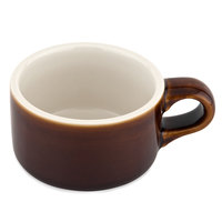 Tuxton B1M-1204 DuraTux 12 oz. Caramel / Eggshell Soup Mug with Handle - 6/Pack