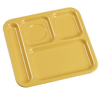 Carlisle 4398422 10 inch x 9 3/4 inch Honey Yellow Melamine Right Hand 4 Compartment Tray