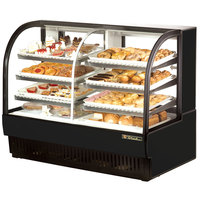 True TCGDZ-59 59 inch Black Curved Glass Dual Zone Dry / Refrigerated Bakery Case - 30.35 Cu. Ft.