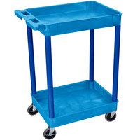 Luxor / H. Wilson STC11 Blue 2 Tub Utility Cart - 18 inch x 24 inch x 37 1/2 inch