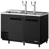 Turbo Air TCB-2SB Black 59 inch Club Top Beer Dispenser - 2 Kegs