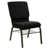 Black Dot Patterned 18 1/2 inch Wide Church Chair with Communion Cup Book Rack - Gold Vein Frame