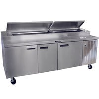Delfield 18699PTBM 99 inch Three Door Refrigerated Pizza Prep Table