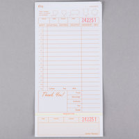 Choice 3 Part Tan and White Carbonless Guest Check with Beverage Lines and Bottom Guest Receipt - 2000/Case