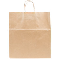 Duro Super Royal Natural Kraft Paper Shopping Bag with Handles 14 inch x 10 inch x 15 3/4 inch - 200 / Bundle
