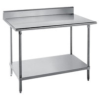 16 Gauge Advance Tabco KMS-305 30 inch x 60 inch Stainless Steel Commercial Work Table with 5 inch Backsplash and Undershelf