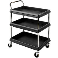 Metro BC2636-3DBL Black Utility Cart with Three Deep Ledge Shelves 38 3/4 inch x 27 inch