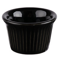 Greenware by Tuxton BBX-0152 1.5 oz. Black Fluted Ramekin - 48/Case