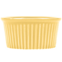 CAC RKF-4YLW Festiware 4 oz. China Fluted Ramekin Yellow 48/Case