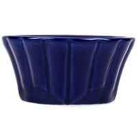 CAC RMK-F4B Festiware 4 oz. Blue China Floral Ramekin - 48/Case