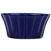 CAC RMK-F4B Festiware 4 oz. Blue China Floral Ramekin - 48 / Case