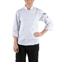 Chef Revival LJ028-XL Knife and Steel Size 16 (XL) White Customizable Ladies Long Sleeve Chef Jacket - Poly-Cotton Blend with Cloth Knot Buttons