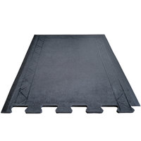 Cactus Mat 2500-RE28 Comfort Zone 2' 4 inch x 3' Black Interlocking End Anti-Fatigue Mat - 1/2 inch Thick