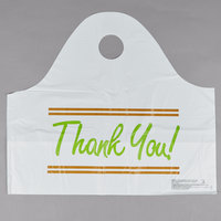 Plastic Thank You 21 inch x 10 inch x 18 inch Take Out Bag with Wave Handle - 500/Box