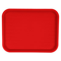 Carlisle CT101405 Customizable Cafe 10 inch x 14 inch Red Standard Plastic Fast Food Tray - 24/Case