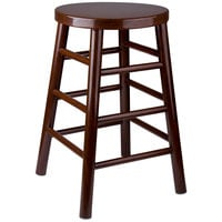 Lancaster Table & Seating Spartan Series 24 inch Metal Woodgrain Counter Height Stool with Dark Finish
