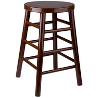 Lancaster Table & Seating 24 inch Metal Woodgrain Counter Height Stool with Dark Finish