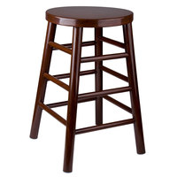 Lancaster Table & Seating 24 inch Metal Woodgrain Barstool with Dark Finish