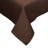 54 inch x 120 inch Brown Hemmed Polyspun Cloth Table Cover