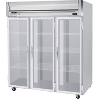 Beverage Air HR3-1G-LED 3 Section Glass Door Reach-In Refrigerator with LED Lighting - 74 cu. ft., SS Front, Gray Exterior