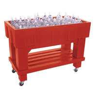 Red Texas Icer 710 Insulated Ice Bin / Merchandiser with Shelf and Drain 48 inch x 24 inch 140 Qt.