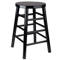 Lancaster Table & Seating 24 inch Black Metal Woodgrain Barstool