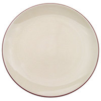 CAC 666-21-W Japanese Style 12 inch China Coupe Plate - Black Non-Glare Glaze / Creamy White - 12/Case