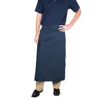 Choice Navy Blue Bistro Apron with Pocket - 34 inchL x 28 inchW