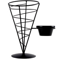 Tablecraft ACR57 Vertigo Round Appetizer Wire Cone Basket with 1 Ramekin - 5 inch x 7 inch - 6 / Pack