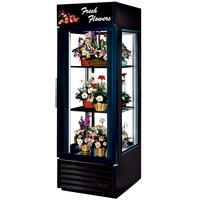 True G4SM-23FC-LD Black Four Sided Glass Door Floral Case with Front Sign - 23 Cu. Ft.