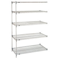Metro 5AA367C Stationary Super Erecta Adjustable 2 Series Chrome Wire Shelving Add On Unit - 18 inch x 60 inch x 74 inch