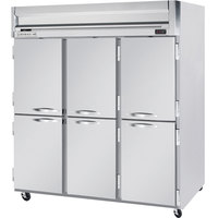 Beverage Air HRP3-1HS 3 Section Solid Half Door Reach-In Refrigerator - 74 cu. ft., SS Exterior