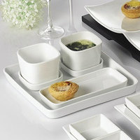 CAC F-ST9 White Fortune 9 1/2 inch Square China Tasting Tray - 24/Case