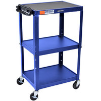 Luxor / H. Wilson AVJ42 Blue 3 Shelf A/V Utility Cart 24 inch x 18 inch - Adjustable Height