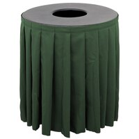 Buffet Enhancements 1BCTV55SET Black Round Topper with Forest Green Skirting for 55 Gallon Trash Cans