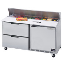 Beverage-Air SPED60-08-2 60 inch Refrigerated Salad / Sandwich Prep Table with One Door and Two Drawers