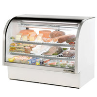 True TCGG-60-LD 60 inch White Curved Glass Refrigerated Deli Case With Stainless Steel Top and Trim - 30 Cu. Ft.
