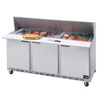 Beverage-Air SPE72-12M 72 inch Mega Top Three Door Refrigerated Salad / Sandwich Prep Table