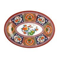 Peacock 8 inch x 6 inch Oval Melamine Platter - 12 / Pack