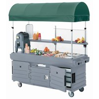 Cambro CamKiosk KVC856C191 Granite Gray Vending Cart with 6 Pan Wells and Canopy