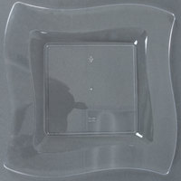 Fineline Wavetrends 109-CL 9 1/2 inch Clear Plastic Square Plate - 120 / Case
